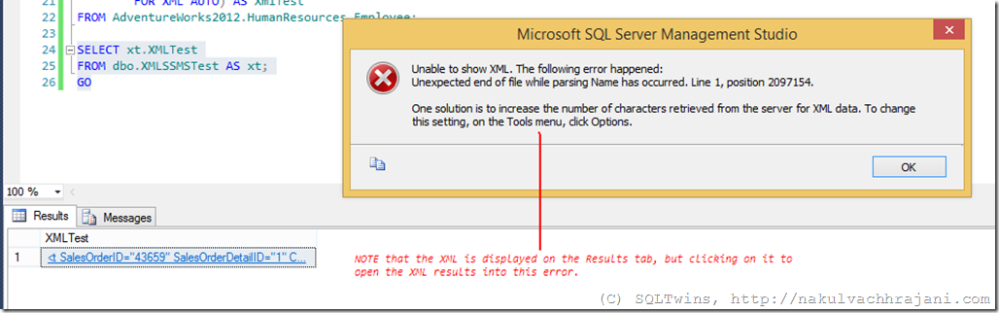 #0349 – SQL Server – SSMS Usability - Unable to Show XML, Unexpected End of File when parsing (1/2)
