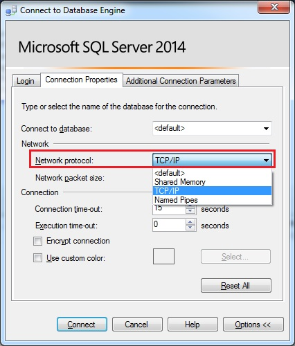 SQLTwins, Post #0366 - SQL Server Management Studio (SSMS) - Using the Connection Properties tab to change the Network protocol when connecting to a SQL Server instance