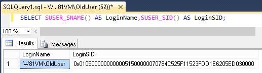 Query showing the Old User's SID