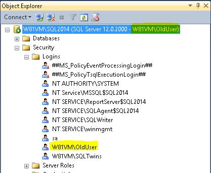 Screenshot showing the use of an existing windows login for authentication into a SQL Server instance.