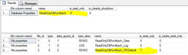 Read Only Database and Data File Properties After Attach showing that the database is no longer Read Only