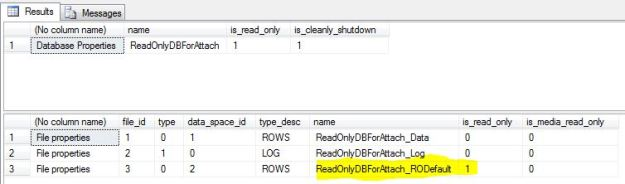 Image showing database and database file properties for the read-only database - ReadOnlyDBForAttach