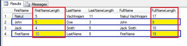 Screenshot showing the length of the strings in the table
