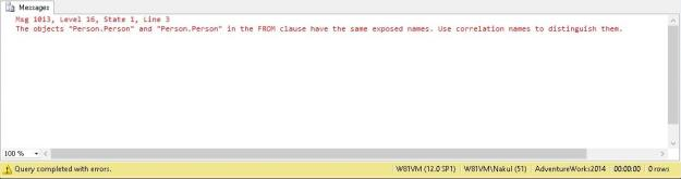 Msg 1013 indicating duplicate exposed names when the same object is referenced again in the query without an alias.