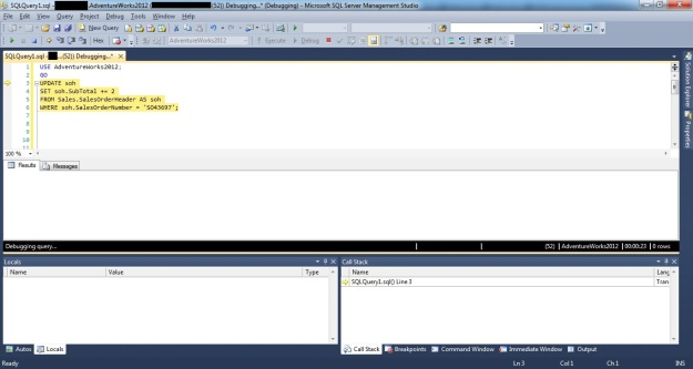 Demonstrating how to debug DML triggers using SSMS