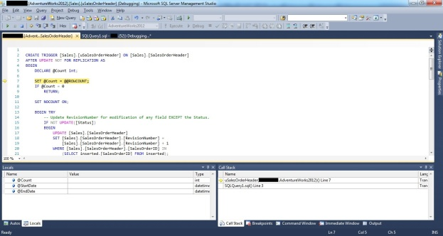 Showing how to debug a DML trigger by stepping into a DML trigger during a SSMS T-SQL Debugging session