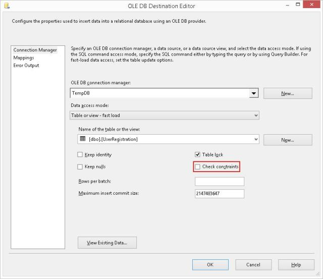 0392 – SQL Server – SSIS – OLE DB Destination – Table Fast