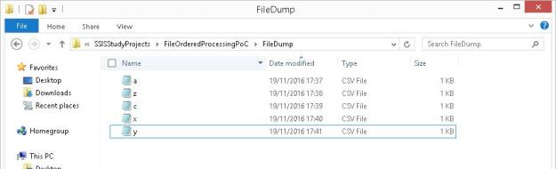 Folder showing files to process in the required non-alphabetical order