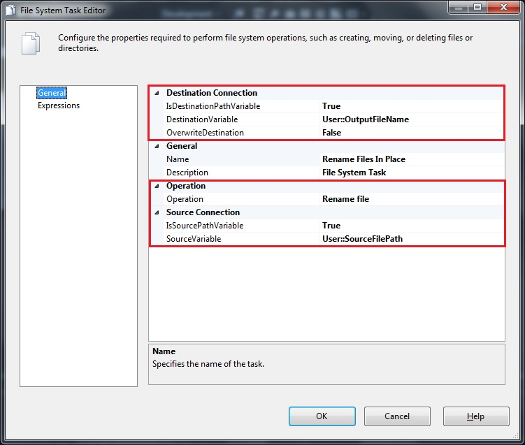 File System Task configuration using