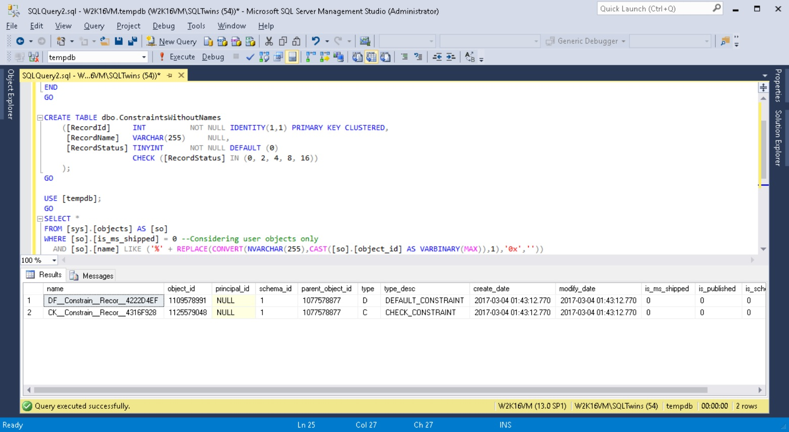 Screenshots showing that objects have been given default constraint names by SQL Server in case a name was not supplied by the user