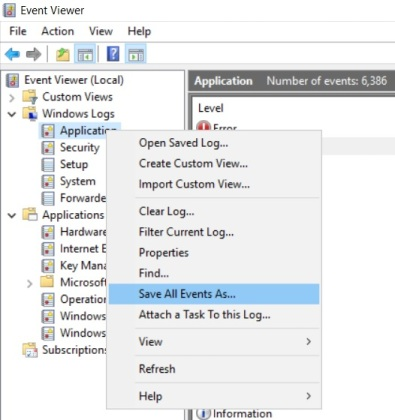 Screenshot showing how to Save the Event Viewer Logs
