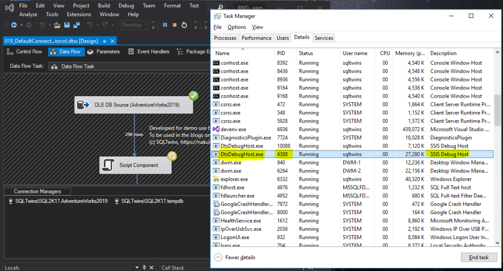 Finding the Host process PID for the DtsDebugHost.exe process.