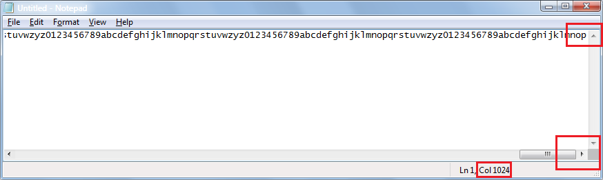 Image showing automatic wrapping of strings to 1024 characters in Notepad
