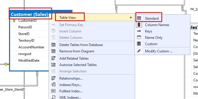 "Screenshot showing how to select the ""Standard"" view of tables on a database diagram. This will add more details (like datatype and null-ability of columns)."
