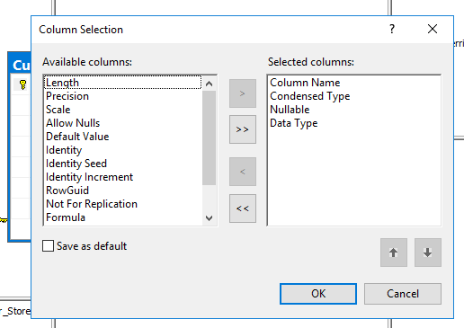 "Screenshot showing the ""Modify Columns"" screen which allows the user to select/choose columns on the table that may be necessary to review the design."