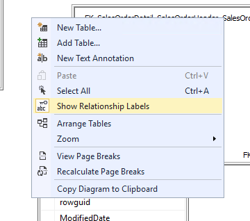 "Image showing how to enable visibility of relationship labels on the diagram by right-clicking on the canvas and choosing ""Show Relationship Labels"""