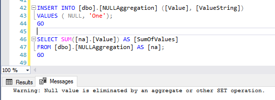 A screenshot showing the warning encountered in SSMS when an aggregation operation is performed on a NULL value.